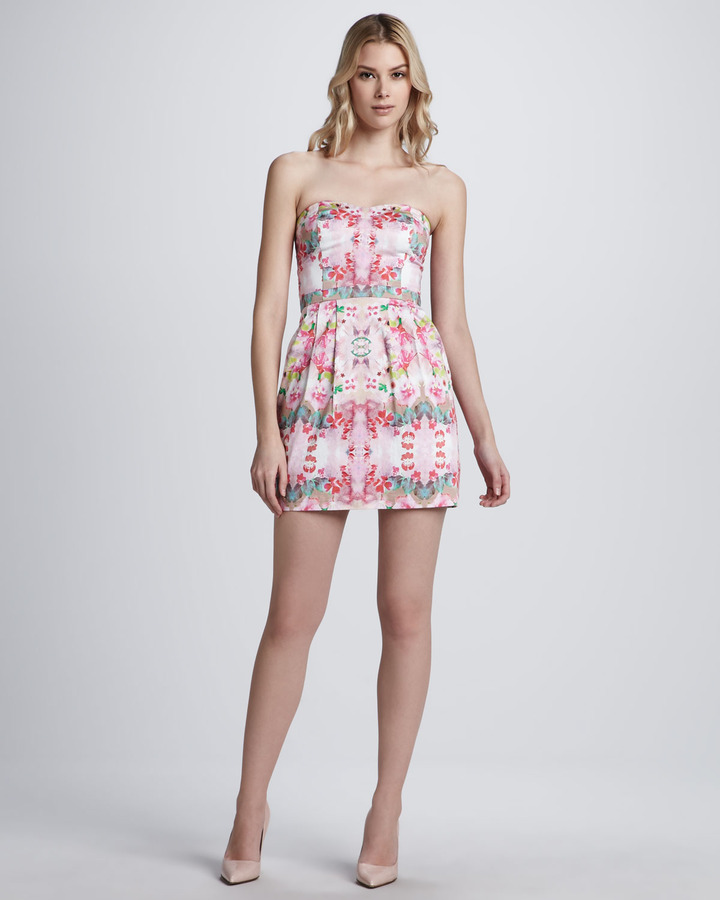 Ali Ro Floral-Print Strapless Dress