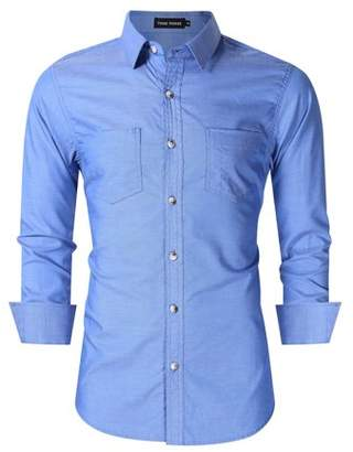 Lintimes Men's Classic Slim Fit Long Sleeve Western Oxford Shirts with Front Pockets Blue M