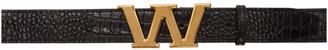 Alexander Wang Black Croc Letter Belt