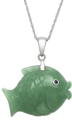 Kohl's Jade & Sapphire Sterling Silver Fish Pendant Necklace