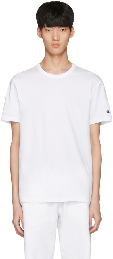 Champion Reverse Weave White Logo T-Shirt