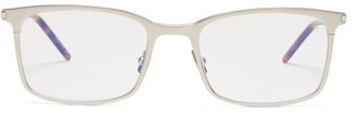 Saint Laurent Square Frame Metal Glasses - Mens - Silver