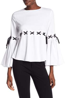 Gracia Lace-Up Bell Sleeve Blouse