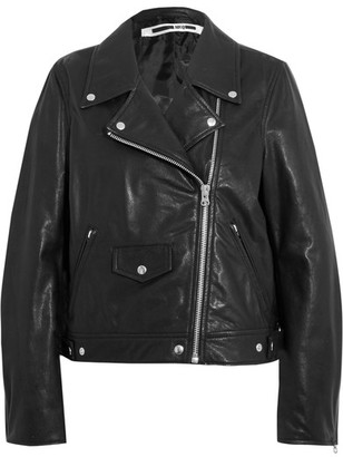 McQ Alexander McQueen - Textured-leather Biker Jacket - Black $1,135 thestylecure.com