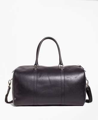 Brooks Brothers Leather with Black Watch Duffle Bag