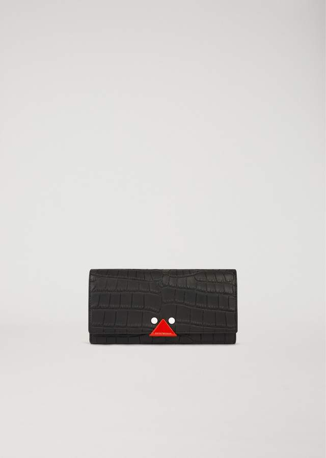 EMPORIO ARMANI croc print leather wallet