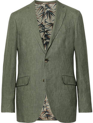 Etro Green Slim-Fit Linen Suit Jacket