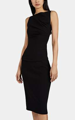 Narciso Rodriguez Women's Draped Wool-Blend Crepe Asymmetric Midi-Dress - Black