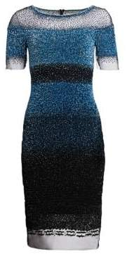 Pamella Roland Short-Sleeve Sequin Sheath Dress
