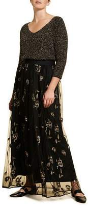 Marina Rinaldi Plus Size Embroidered Long Tulle Skirt with Paillettes