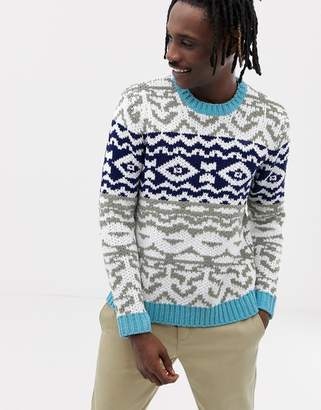 Asos DESIGN chenille sweater with fairisle pattern design