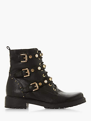 Dune Reegan Buckle Detail Ankle Boots, Black Leather