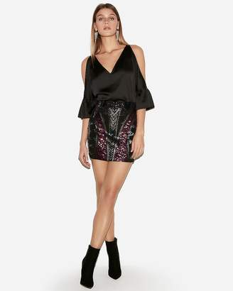 Express Petite High Waisted Geometric Sequin Mini Skirt