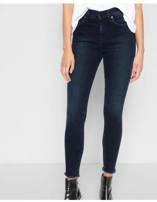 7 For All Mankind High Waist Ankle Skinny With Raw Hem In Smoked Indigo