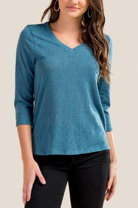 francesca's Kiki Basic V Neck Tee - Dark Teal