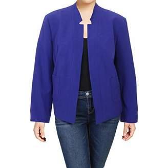 Nine West Women's Plus Size Solid Bi Stretch Kiss Front Jacket