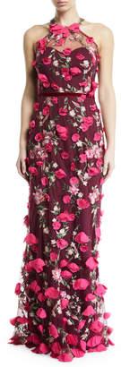 Marchesa 3D Chiffon Flower Halter Gown
