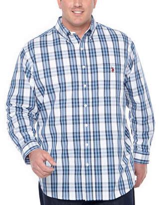 U.S. Polo Assn. USPA Mens Long Sleeve Plaid Button-Front Shirt Big and Tall