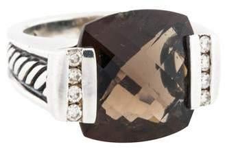 David Yurman Smoky Quartz & Diamond Deco Cocktail Ring