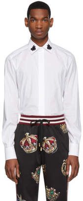 Dolce & Gabbana White Beaded Bees Shirt