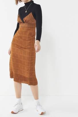Urban Outfitters Plaid Lace Trim Midi Dress