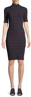 Three Dots Mock-Neck Ribbed Body-Con Dress