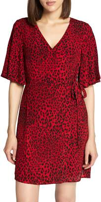 Sanctuary Girl on Fire Leopard Faux Wrap Dress