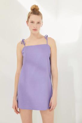 Urban Renewal Vintage Remnants Linen Tie-Shoulder Slip Mini Dress