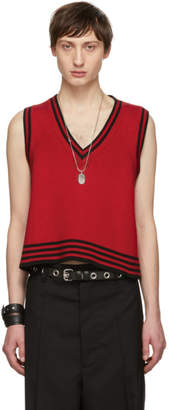 Maison Margiela Red and Black Sleeveless V-Neck Pullover