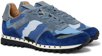 Valentino Rockstud Suede And Camouflage-Print Shell Sneakers