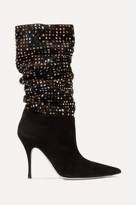 Rene Caovilla Crystal-embellished Suede Ankle Boots - Black