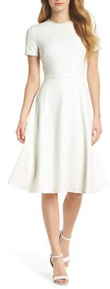 Gal Meets Glam Victoria Pearly Trim Fit & Flare Dress