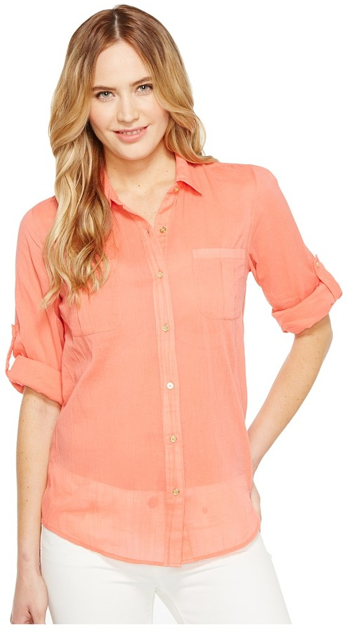 Calvin Klein Calvin Klein - Roll Sleeve Button Front Women's Blouse
