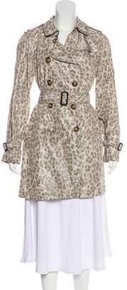Gerard Darel Leopard Print Trench Coat