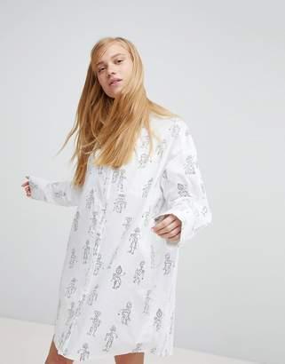 Monki Robot Graphic Print Shirt Dress