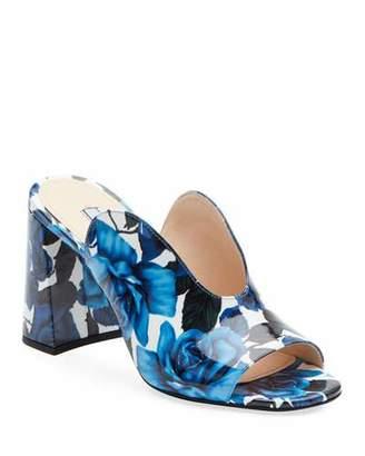 Prada Floral Calf Slide Mules