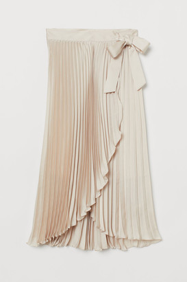 H&M Pleated Wrap-front Skirt - Beige