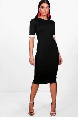 Damen Mila Bodyconkleid in Midilänge mit Kontrastbündchen in Schwarz