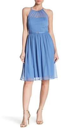 Marina Halter Sheer Mesh Dress