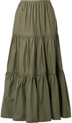 Solid & Striped Tiered Cotton-poplin Maxi Skirt - Army green