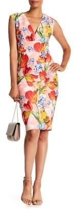 Kay Unger Mixed Floral Print V-Neck Dress
