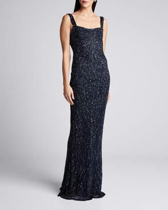 Rachel Gilbert Embellished Square-Neck Low-Back Dress