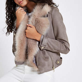 River Island Womens Grey faux suede fur trim biker jacket