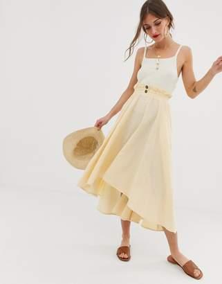 Asos Design DESIGN seersucker full midi skirt with shirred waistband