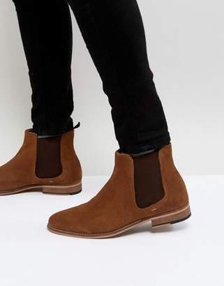 WALK LONDON Walk London Harrington Suede Chelsea Boots in Tan