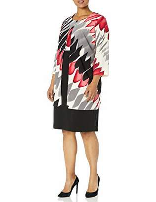 Danny & Nicole Women's Plus Size 2pc Abstract Print Jacket and Dress