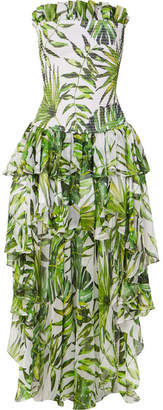 Caroline Constas Lola Asymmetric Ruffled Smocked Printed Silk-chiffon Dress - Green