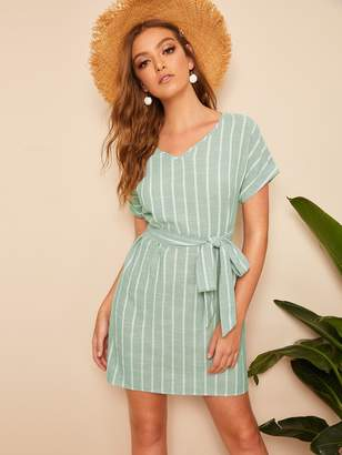 Shein V Neck Vertical Striped Belted Dress
