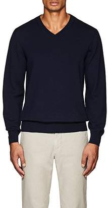 Luciano Barbera MEN'S WOOL V-NECK SWEATER - NAVY SIZE S
