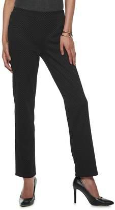 Dana Buchman Women's Print Straight-Leg Ponte Pull-On Pants